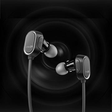 Anker SoundBuds Sport Kopfhörer Bluetooth 4.0 Halsband Ohrhörer Wireless, 8-Stunden-Spielzeit, IPX4-klassifiziert spritzwasserfest für Joggen, Workout, Fitness, Headphones mit Mikrofon für iPhone, Android, MP3 & Weitere (Schwarz) - 2