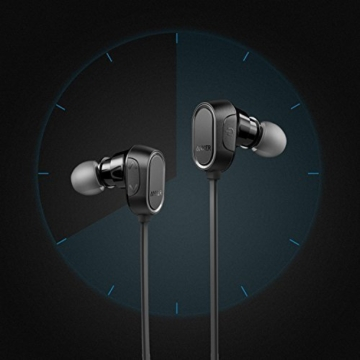 Anker SoundBuds Sport Kopfhörer Bluetooth 4.0 Halsband Ohrhörer Wireless, 8-Stunden-Spielzeit, IPX4-klassifiziert spritzwasserfest für Joggen, Workout, Fitness, Headphones mit Mikrofon für iPhone, Android, MP3 & Weitere (Schwarz) - 4