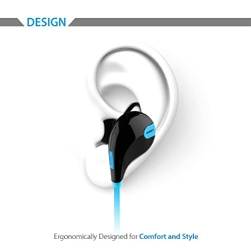 AUKEY Bluetooth Kopfhörer 4.1 Sport Kopfhörer In Ear Stereo Ohrhörer mit Mikrofon für iOS und Android Handys iPad Laptops Tablet, EP-B4 (Blau) - 2