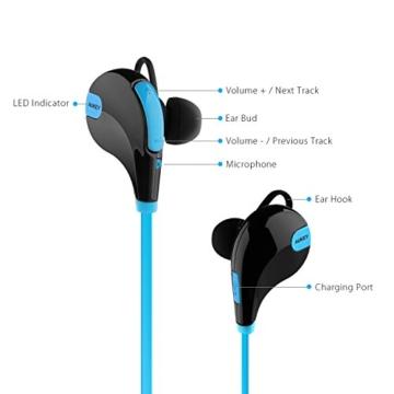 AUKEY Bluetooth Kopfhörer 4.1 Sport Kopfhörer In Ear Stereo Ohrhörer mit Mikrofon für iOS und Android Handys iPad Laptops Tablet, EP-B4 (Blau) - 3