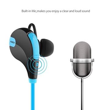 AUKEY Bluetooth Kopfhörer 4.1 Sport Kopfhörer In Ear Stereo Ohrhörer mit Mikrofon für iOS und Android Handys iPad Laptops Tablet, EP-B4 (Blau) - 5