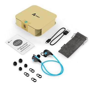 AUKEY Bluetooth Kopfhörer 4.1 Sport Kopfhörer In Ear Stereo Ohrhörer mit Mikrofon für iOS und Android Handys iPad Laptops Tablet, EP-B4 (Blau) - 8