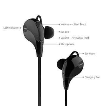 AUKEY Sport Bluetooth Kopfhörer 4.1 Stereo Headset Ohrhörer In Ear Kopfhörer mit Mikrofon für iOS und Android Handys iPhone Samsung HTC iPad - 3