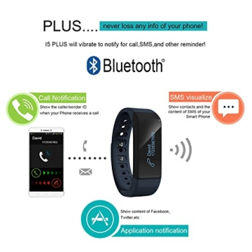 Dax Hub SmartWatch Sport, Blau I5 Plus Bluetooth 4.0 SmartWatch Sport Intelligente Uhren Für IOS 7.0 Oder Höher Mit iphone 4s/5/5s/6/6s/6 plus/6s plus und Android 4.3 Oder Höher Mit Camera Calculator, Sleep-Monitoring, Dialer Armband Nicht einschließlich Lenovo, TCL, ASUS - 8