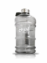 Dual Bottle - Wasser Kanister 2.2 Liter Water Gallon - Trinkflasche - BPA FREE - Water Jug (Grau Transparent) - 1