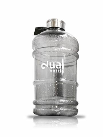 Dual Bottle - Wasser Kanister 2.2 Liter Water Gallon - Trinkflasche - BPA FREE - Water Jug (Grau Transparent) - 1