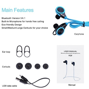 Ecandy Bluetooth 4.0 Wireless Stereo Sport / Laufen & Fitnessstudio / Sport Earbuds Kopfhörer Hands-Free Bluetooth-Headset mit Mikrofon für iPhone 6 5s 5c 4s 4, iPad 2 3 4 Neue iPad, iPod, Android, Samsung Galaxy, Smart Phones Bluetooth-Geräte. (blau) - 5