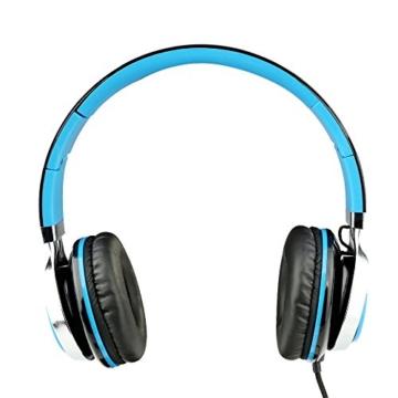Kopfhörer, Sound Intone MS200, Neues Modell 2016,  faltbarer, ohraufliegender kopfhörer, mit geringes Gewicht, Rauschunterdrückung und Audiogeräten gilt Mp3/4 Players, Computers, iphone/ samsung/ Ipod/ Andriod/ HT usw. (Schwarz / Blau) - 3
