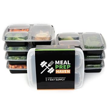 Meal Prep Haven Lebensmittelbehälter mit 3 Fächern und Deckeln für die Portionskontrolle, stapelbar, auslaufsicher, mikrowellengeeignet, spülmaschinenfest, wiederverwendbar, Obentobox mit Trennwand (Packung mit 7 Stück) - 1