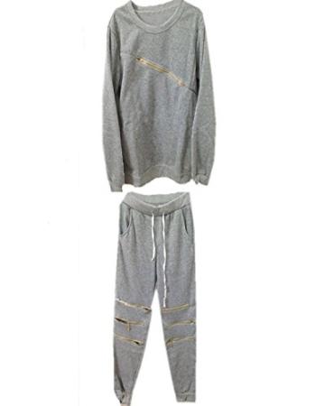 Minetom Damen Zipper Hausanzug Herzförmiger Sport Anzug Trainingsanzug Pants+ Sweatshirt Jogginganzug Damen Zipper Hausanzug Lang Hose T-Shirt Fitness Sportanzug Jogginganzug ( DE 34 ) - 2