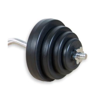 MOVIT® 23,5 kg Curlset, 1 SZ Curlstange gerendelt und verchromt mit Sternverschlüssen + 8 Gewichtsscheiben Hantelscheiben Curl Set Hantelset - 6
