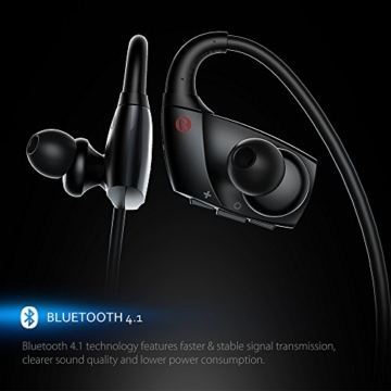 Mpow Antelope Bluetooth 4.1 Wireless Sports Kopfhörer mit Freisprechfunktion, der Buletooth Kopfhörer im CVC6.0 Noise Reduction Design für Laufen Gym usw. Für iphone SE, 6/6S, 5S, 5, 4/4S, Samsung Galaxy S6, S5, S4, S3, Sony Xperia Z5, Z3, Z2 und andere Bluetooth fähige Smart Handys Andriod ISO -Schwarz - 3