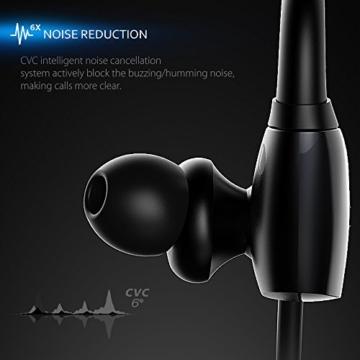 Mpow Antelope Bluetooth 4.1 Wireless Sports Kopfhörer mit Freisprechfunktion, der Buletooth Kopfhörer im CVC6.0 Noise Reduction Design für Laufen Gym usw. Für iphone SE, 6/6S, 5S, 5, 4/4S, Samsung Galaxy S6, S5, S4, S3, Sony Xperia Z5, Z3, Z2 und andere Bluetooth fähige Smart Handys Andriod ISO -Schwarz - 4
