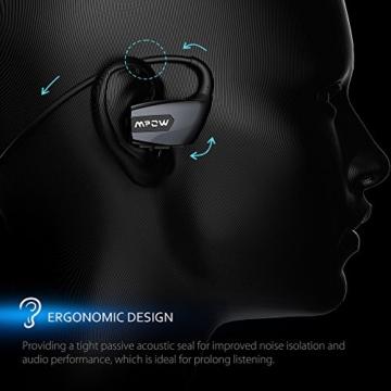 Mpow Antelope Bluetooth 4.1 Wireless Sports Kopfhörer mit Freisprechfunktion, der Buletooth Kopfhörer im CVC6.0 Noise Reduction Design für Laufen Gym usw. Für iphone SE, 6/6S, 5S, 5, 4/4S, Samsung Galaxy S6, S5, S4, S3, Sony Xperia Z5, Z3, Z2 und andere Bluetooth fähige Smart Handys Andriod ISO -Schwarz - 6