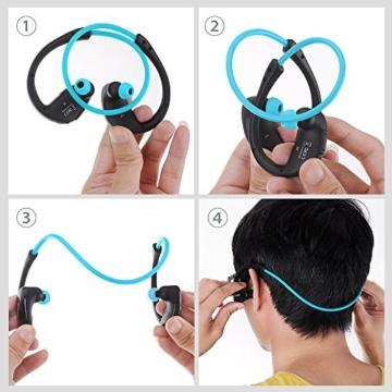 Mpow Cheetah Bluetooth 4.1 Kopfhörer Wireless Sport Stereo In-Ear-Kopfhörer mit AptX Technologie und Mikrofon der Freisprechfunktion für iPhone SE 6 6S 6 Plus 6S Plus 5S 5 5C 4S 4, Samsung Galaxy S7 S7 edge S6 S6 Edge S5 S4 Mini, HTC M9 M8, Sony Z5 Z4 Z3 Compact, MP3 Players usw. -Blau - 2