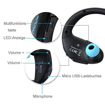 Mpow Cheetah Bluetooth 4.1 Kopfhörer Wireless Sport Stereo In-Ear-Kopfhörer mit AptX Technologie und Mikrofon der Freisprechfunktion für iPhone SE 6 6S 6 Plus 6S Plus 5S 5 5C 4S 4, Samsung Galaxy S7 S7 edge S6 S6 Edge S5 S4 Mini, HTC M9 M8, Sony Z5 Z4 Z3 Compact, MP3 Players usw. -Blau - 5