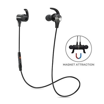 TaoTronics Bluetooth Kopfhörer Bluetooth 4.1 Kopfhörer Stereo In Ear Ohrhörer mit Mikrofon, magnetische Headset für iPhone 6 6S 6 Plus 6S Plus 5S 5 5C 4S 4, Samsung Galaxy S6 S6 Edge S5 S4 Mini - 2
