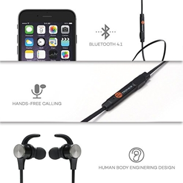 TaoTronics Bluetooth Kopfhörer Bluetooth 4.1 Kopfhörer Stereo In Ear Ohrhörer mit Mikrofon, magnetische Headset für iPhone 6 6S 6 Plus 6S Plus 5S 5 5C 4S 4, Samsung Galaxy S6 S6 Edge S5 S4 Mini - 4