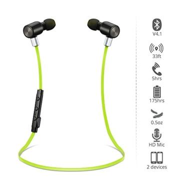 VTIN Bluetooth Kopfhörer 4.1 Sport Stereo Kopfhörer In Ear Ohrhörer mit APT-X und Mikrofon für iOS und Android Handys iPad Laptops Tablet, Grün - 2