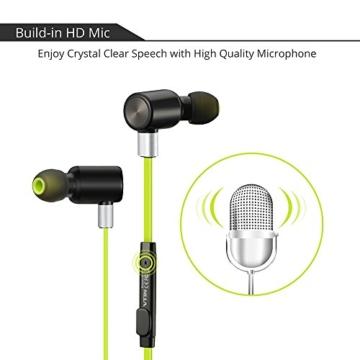 VTIN Bluetooth Kopfhörer 4.1 Sport Stereo Kopfhörer In Ear Ohrhörer mit APT-X und Mikrofon für iOS und Android Handys iPad Laptops Tablet, Grün - 3