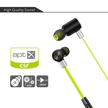 VTIN Bluetooth Kopfhörer 4.1 Sport Stereo Kopfhörer In Ear Ohrhörer mit APT-X und Mikrofon für iOS und Android Handys iPad Laptops Tablet, Grün - 4