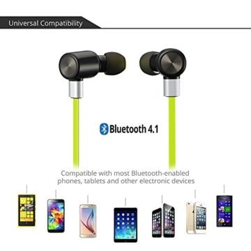 VTIN Bluetooth Kopfhörer 4.1 Sport Stereo Kopfhörer In Ear Ohrhörer mit APT-X und Mikrofon für iOS und Android Handys iPad Laptops Tablet, Grün - 5