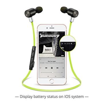 VTIN Bluetooth Kopfhörer 4.1 Sport Stereo Kopfhörer In Ear Ohrhörer mit APT-X und Mikrofon für iOS und Android Handys iPad Laptops Tablet, Grün - 6